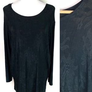 90's Vintage Clio Long Sleeve Black Stretchy Tunic